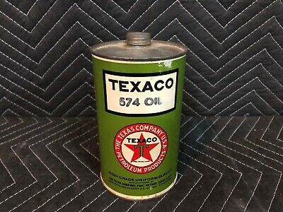 RARE MINT Excellent Condition Texaco 574 Motor Oil Quart Can Black T Gas Station