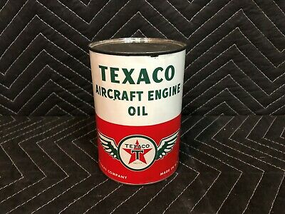 RARE Texaco Aircraft Engine Oil Can One 1 Quart Gas Station Day One Gloss Empty