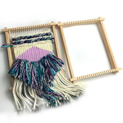 Traditional Children Weaving Loom DIY Hand Knitted Machine Wooden Tapestry Mini