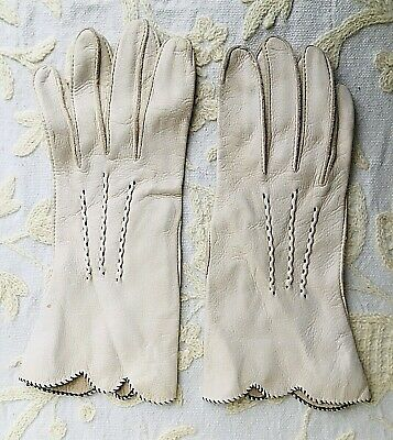 Women's Kid Leather super soft beige/cream/oatmeal gloves with brown trim size 7
