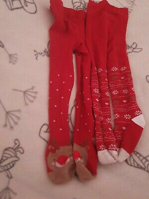 Two Pairs Of Girls christmas Tights Age 18-24 months