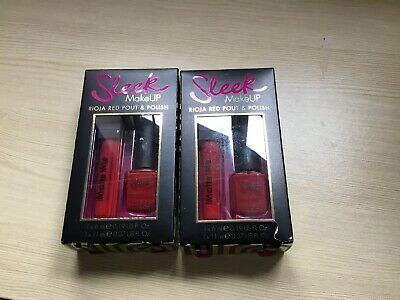 2 X SLEEK Make UP Rioja Red Pout 6ml and Polish 11ml Gift Sets New in Boxes.