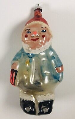 Antique to Vintage Hand Painted Glass Figural Ornament German, Czech Jolly Child