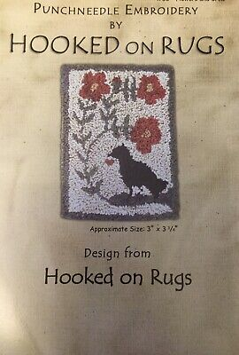 'Hooked On Rugs~ Punch Needle Pattern #30~Flowers & Crow~Printed On Cloth