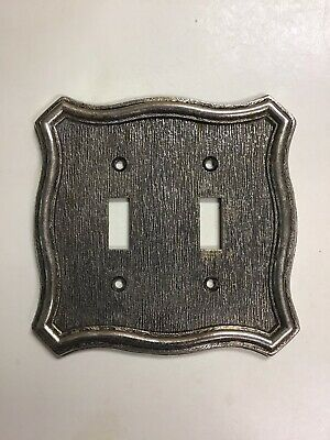 Vtg.  American Tack & Hdwe Brass Tone Metal DOUBLE LIGHT SWITCH COVER 70TT 1968