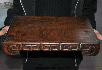 "14"" Antique Old Chinese Huanghuali wood dynasty palace tea tray Tea table desk"