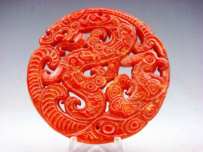 Old Nephrite Jade Stone Carved LARGE Pendant Curly Dragon & Phoenix #06231905