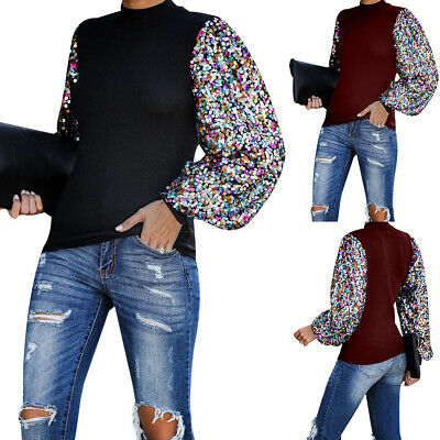Women Ladies Sequin Pullover Sweatshirt Casual Long Sleeve Blouse T Shirt Tops