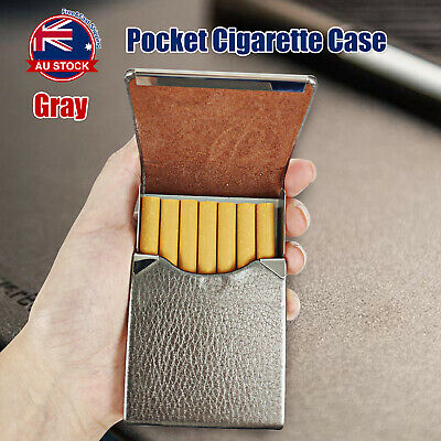 Pocket Cigarette Case Tobacco Cigar Storage Box Flip Top Holder Container Gray D