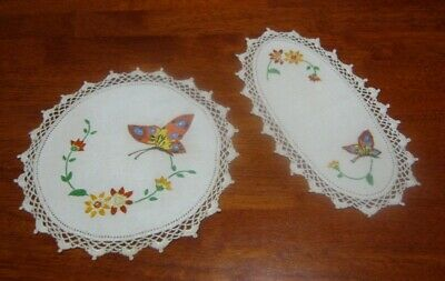 2 Vintage Matching Hand Embroidered Doilies~Butterflies/Flowers~Lace Edged~Linen