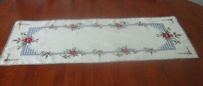 Vintage Hand Embroidered Table Runner ~ Pink Roses ~ Pale Yellow ~ Cotton