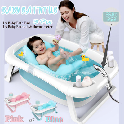 Large Foldable Baby Bath Tub Toddlers Kids Bathtub Shower w/ Thermometer AU