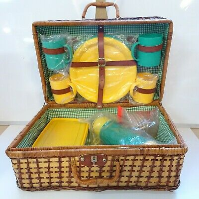 45cm Camping Hamper Handle Picnic Box Cup Flask Plate Container Basket Brown 11C