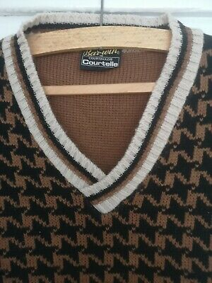 Bar-win Courtelle Mens Vintage Knitted Dogtooth Tank Top/vest 40s/50s/60s/70s