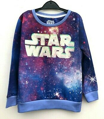 Girls STAR WARS Sequin Sweatshirt Top Ages 6-14 *NEW*  Free 1st Class Postage!