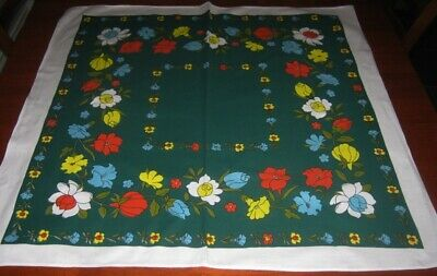 Vintage Supper Cloth ~ Bright Flowers ~ Cotton ~ Square ~ New