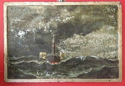 Antique Picture 19th Century Paddle Steamer Aluminium Relief Painting Victorian.