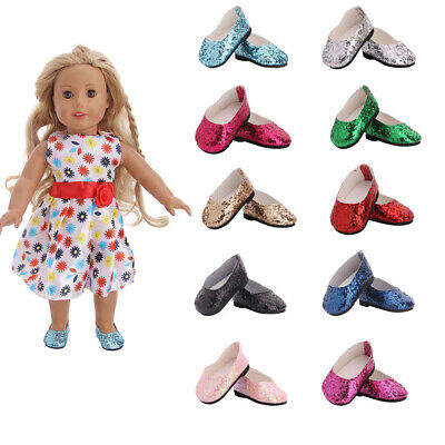 Hot Handmade Accessories Fits 18' in  American Girl Doll Fashion Sequined Shoes