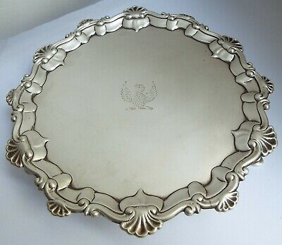Superb Early English Antique Georgian 1763 Sterling Silver Salver Card Tray