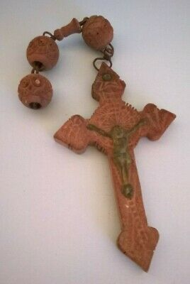 Vintage Antique Part of Large French Hand Carved Bead Wooden Rosary Cross  R 861