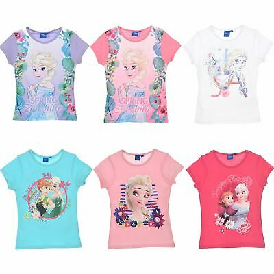 Girls Kids Disney Frozen Elsa Anna Short Sleeve Cotton T Shirt Age 3-8 Years