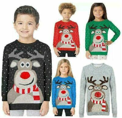 Kids Christmas Jumper Rudolph Pom Pom Nose Sweater Knitted Xmas Top UK 3-13