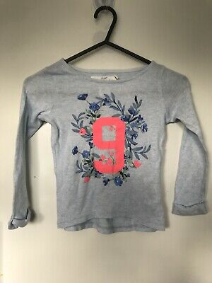 H&M Girls Summer Holiday Light Blue Ling Sleeve Top 2-4 Years Good Condition