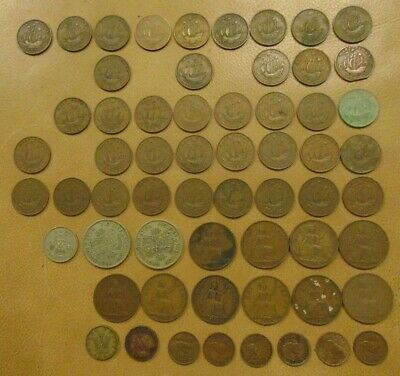George VI 62 No. Coin Bundle Half Crown Threepence Farthing One shilling Pennies