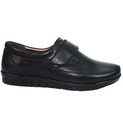 Ladies Leather Padded Insole Wide Fitting Strap Low Heel Loafer Shoes