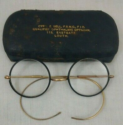 Pair Of Vintage / Retro Metal Round Spectacles - Thin Black Frames Gold Arms