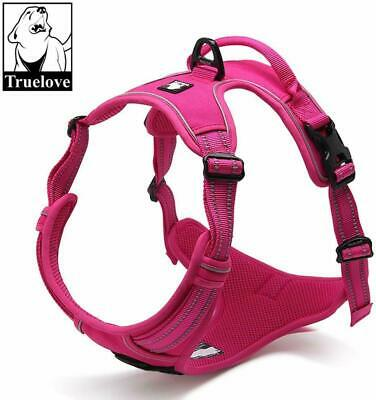 TRUE LOVE Reflective Dog Harness Handle Soft Padded No-Pull Pet Pink