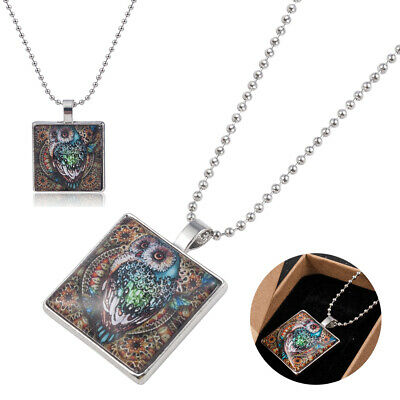 Animal owl Art Cabochon Glass Silver Tile Chain Pendant Necklace Silver Jewelry