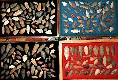 Collection of 213 Colorful Field Grade Arrowheads - Authentic Indian Artifacts