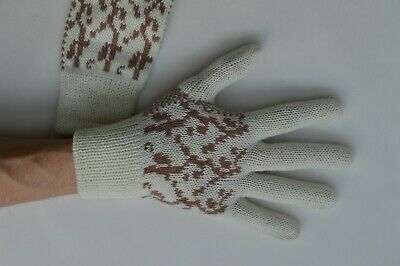 Ladies Soft Winter Gloves White with Brown Pattern Small / Medium