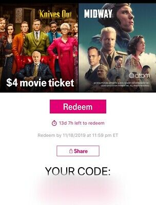 Atom $4 Movie Ticket Knives Out or Midway IMAX, DOLBY, RPX + expires 11/18/19