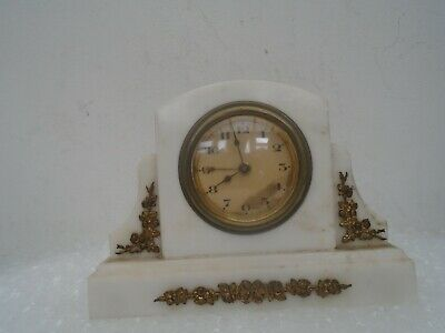 Lovely small white onyx mantle clock with ormolu metal decoration   ATTIC FIND