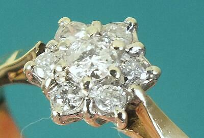 9ct Solid Gold & Seven Diamond Flowerhead Cluster Ring - UK Size O to P