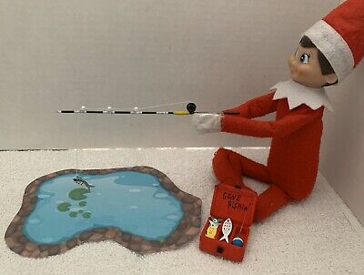 Christmas Elf Fishing Pole, Tackle Box & Pond For On The Shelf Accessories/Props