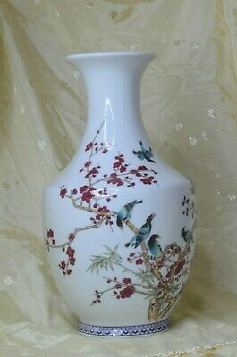 "Chinese Oriental Plum Blossom Large 12""  White Ceramic Hand Painted Vase"
