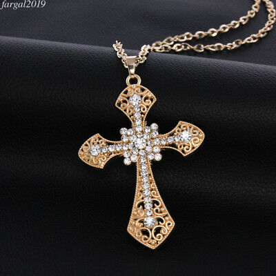 18K Gold Plated Crystal Flower Cross Beautiful Pendant Necklace Women Jewelry