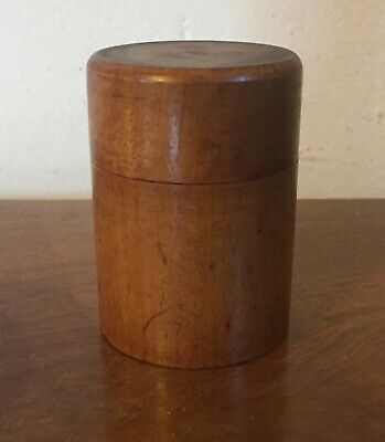 Antique 19th century Treen Turned Fruit Wood Round Cylinder Box & Lid