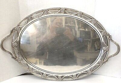 Important 1901 Sterling Silver English 28''1/2 Long & 150 Oz Tray By Goldsmith