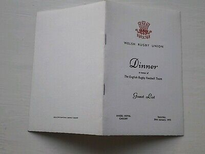 1973 Wales V England Official Dinner Guest List Five Nations International Rugby