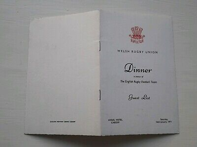 1971 Wales V England Official Dinner Guest List Grand Slam Five Nations Rugby