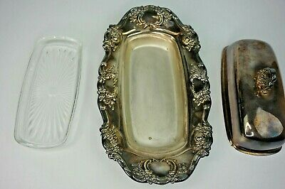 Vintage Towle Silver Plate 4107 Covered Butter Dish-Ornate Design