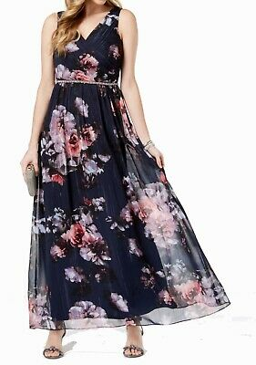 SL Fashions Navy Blue Womens Gown US Size 8 Metallic Floral Surplice $119 324