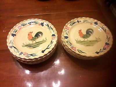"""Contemporary Ceramics """"Home"""" Brand Handpainted """"Rooster""""-(12)11 1/2"""" Dinner Plts"""