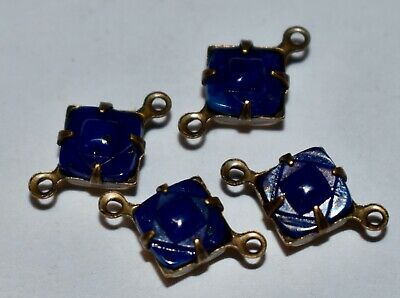 VINTAGE cobalt blue relief GLASS SQUARE CONNECTOR BEADS BRASS SETTING • 7mm