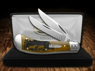 Case xx Saddlehorn Knife Horses Antique Bone 1/500 Stainless Pocket Knives