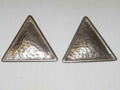Vintage Modernist Hand Hammered Mexican Sterling Silver Earrings Mexico
